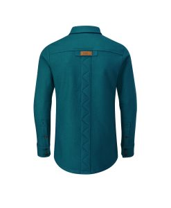McNair men's merino Mountain Shirt in Lagoon (back)