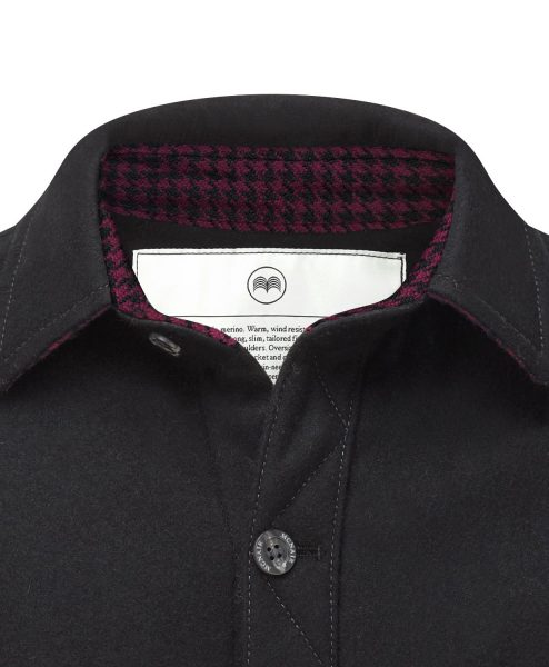 McNair merino shirt in Black with Colne Valley trim