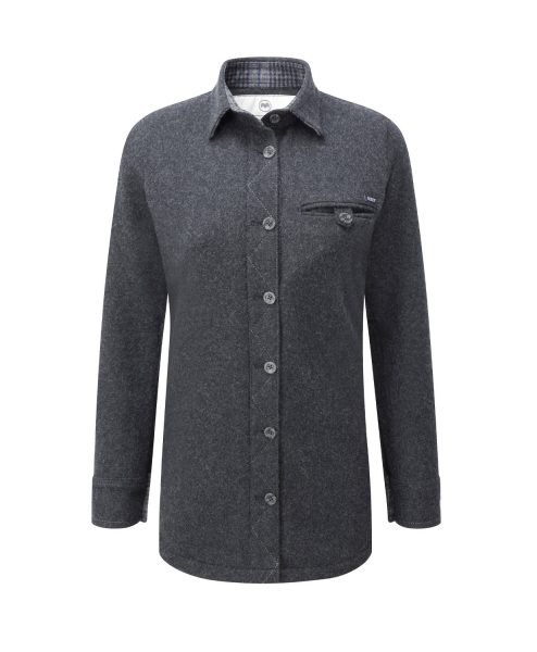 Women's Provenance AG Charcoal Melange merino Fell Shirt