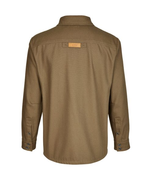 McNair men's PlasmaDry Canvas Work Shirt in bronzed olive (back)